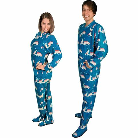 womens footed pajamas footie pajamas for adults with butt flap italian scooter fleece LVOXHMC