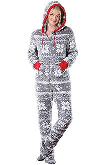 womens footed pajamas hoodie-footie™ - women, footie pjs for women, footed pajamas | pajamagram MIRVOVK
