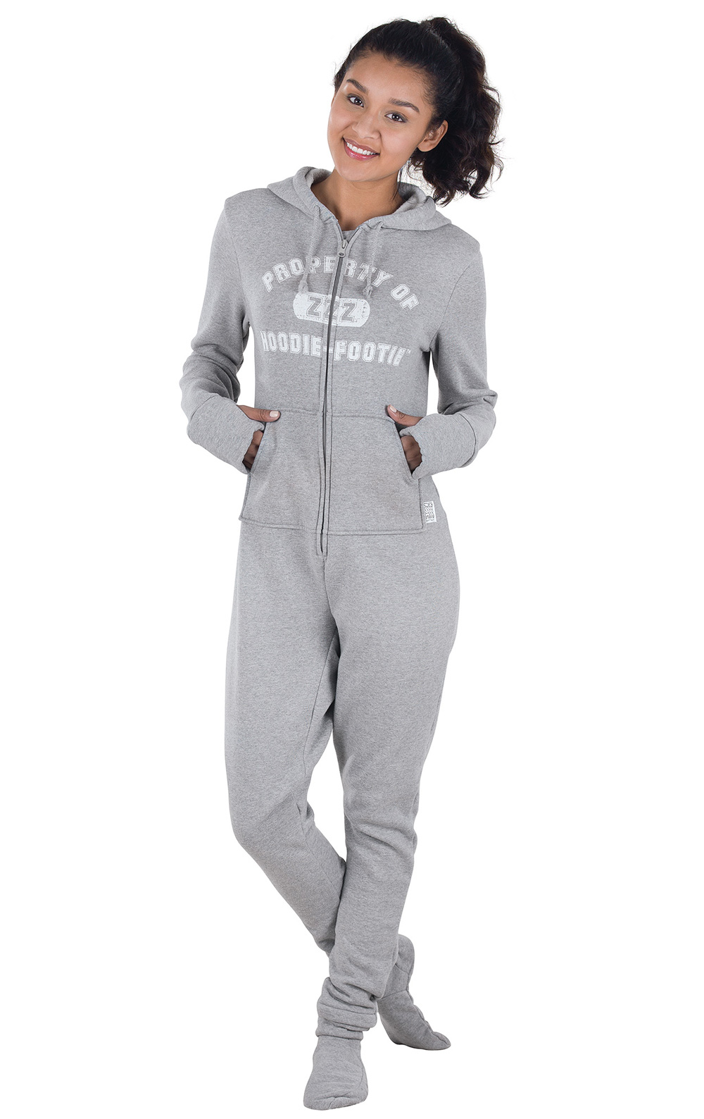 womens footed pajamas hoodie footie - pajamagram JYWFNBL