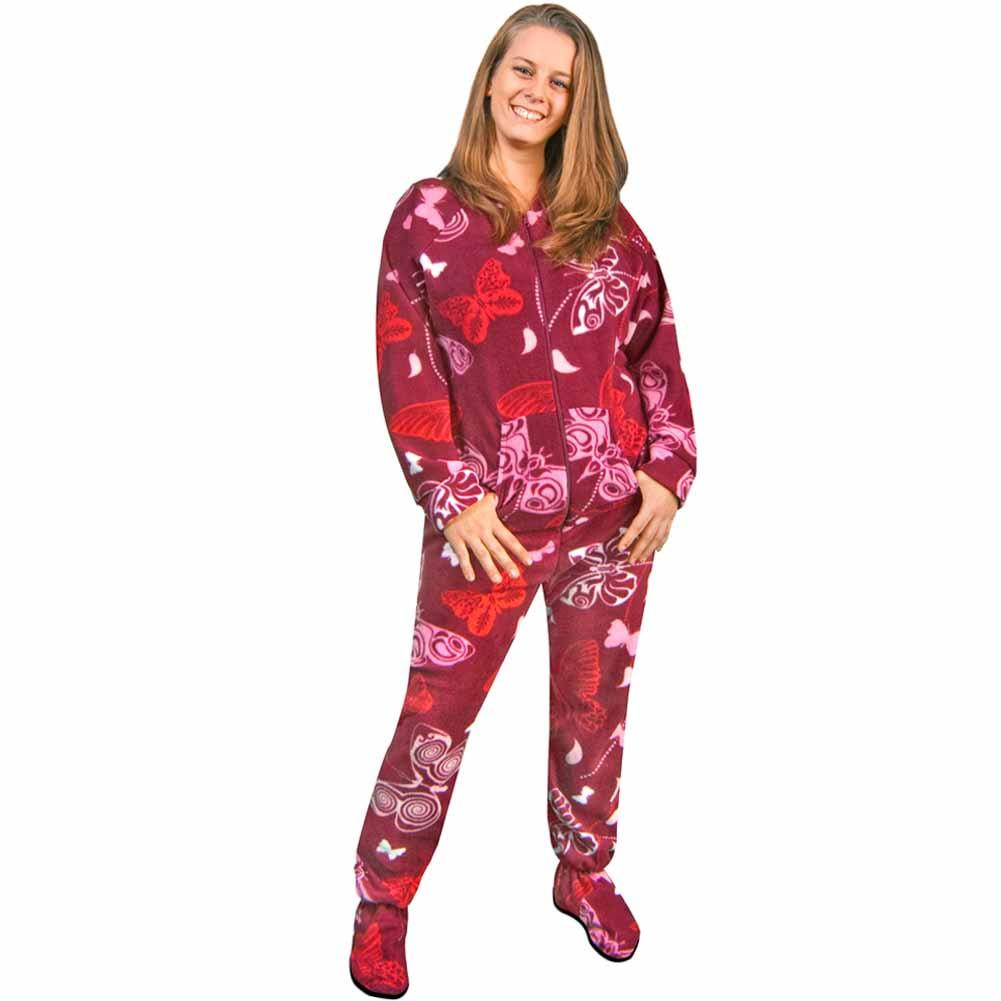 womens footed pajamas womens footie pajamas butterflies fleece drop seat - *limited sizes* -  pajama city CXTKEJJ