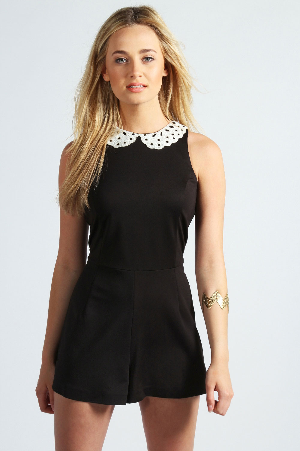womens playsuits image is loading boohoo-michaela-sequin-collar-cut-out-shoulder-playsuit- AYKDOOY