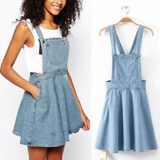 womens retro washed casual blue denim overall jumper dress skater jean  skirt. this YFEJKNM