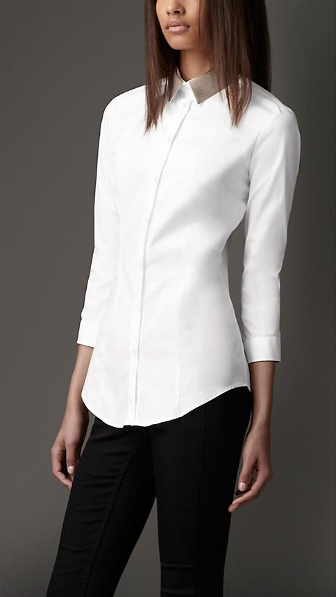 womens white shirt detachable contrast collar shirt | burberry IKSNRCH