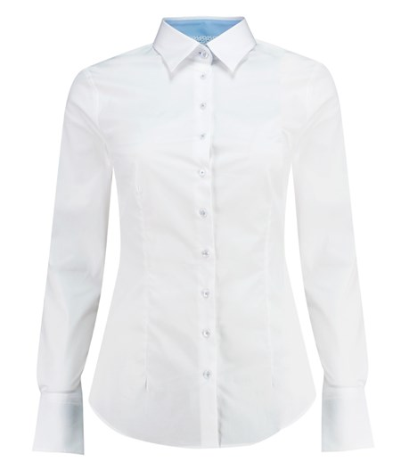womens white shirt womenu0027s white fitted cotton shirt with contrast detail - single cuff FRRCXWD