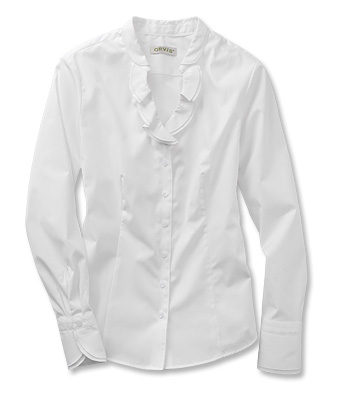 womens white shirt wrinkle-resistant ruffled-collar white shirt NVMJJBD