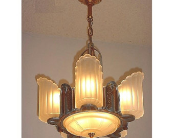 6 light vintage art deco lighting fixture LZRBQNI