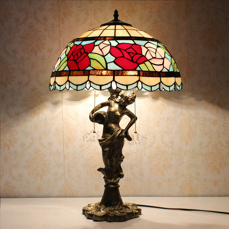 beautiful rose pattern stained glass tiffany lamps TYOCCKB