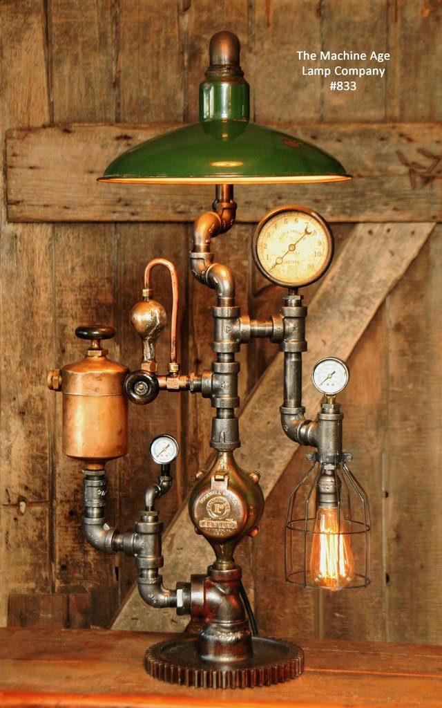 industrial lamps design steampunk industrial lamp, vintage oiler u0026 green shade #1074 DRVKPHV