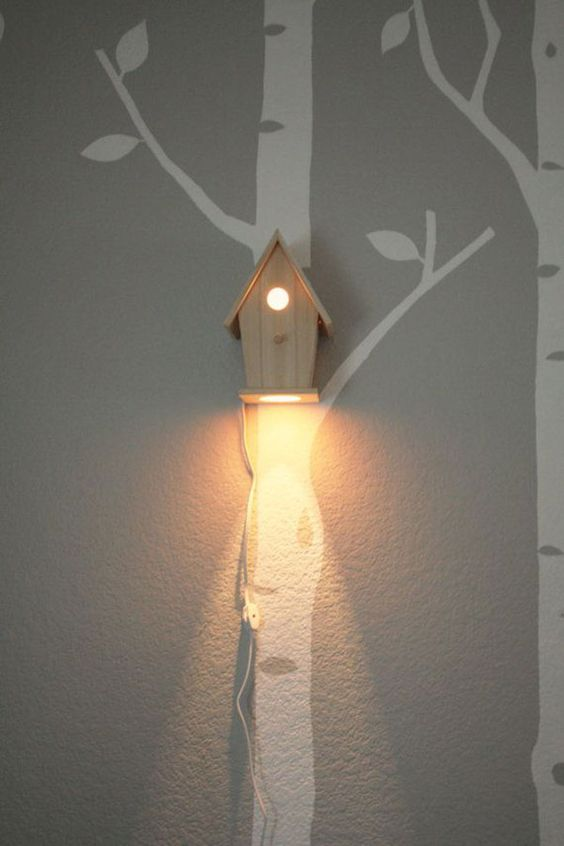 Kids Room Lamps a bird house wall lamp is great for woodland-themed and rustic kids rooms DHWSNBS