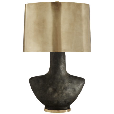 lamp for small table armato small table lamp in stained black metallic ceramic with oval  antique-burnished REWZJQU