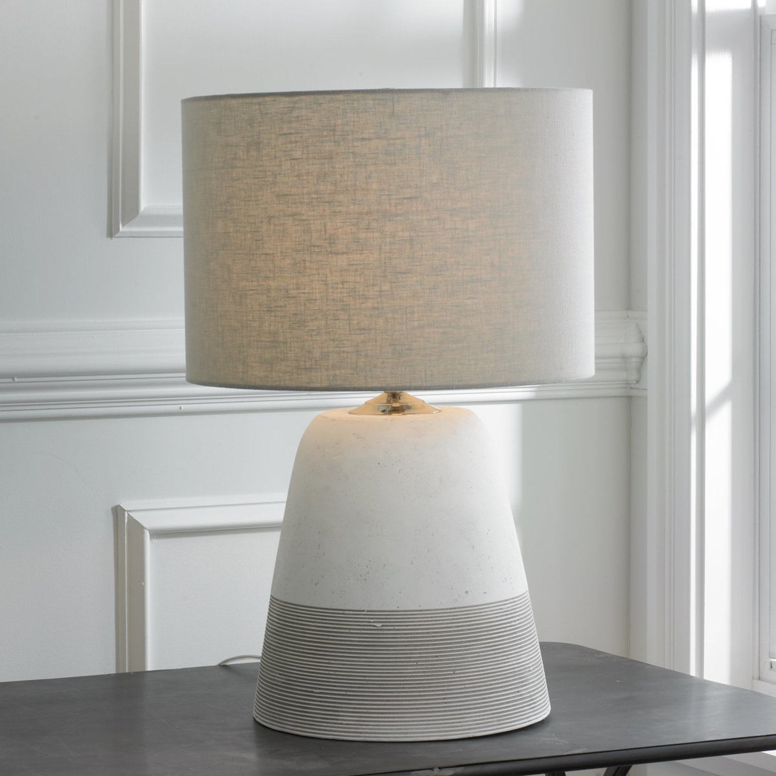 lamp for small table grooved concrete table lamp - small light_gray ZQUXLIZ