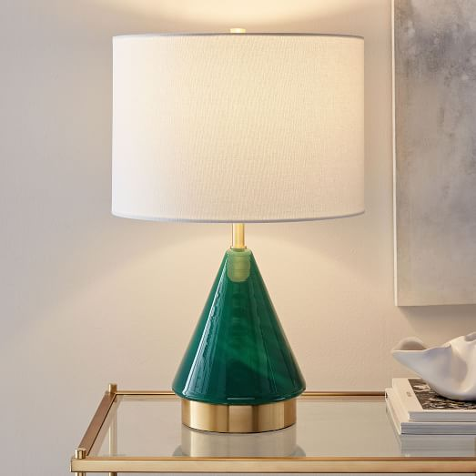 lamp for small table metalized glass table lamp + usb - small (green) GLFTNWW