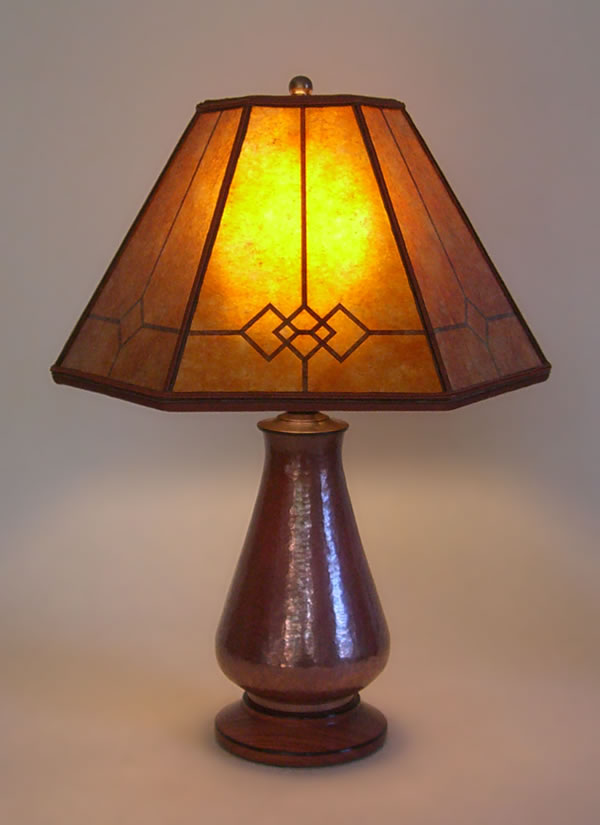 lamp for small table t222 copper small table lamp, amber windowpane mica mission lamp shade IRTKZVN