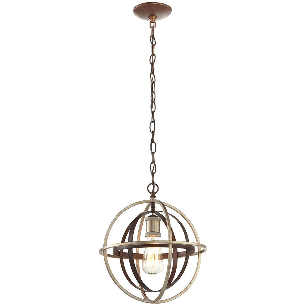 Pendant lights home decorators collection 1-light bronze and champagne pewter orb mini  pendant ZIRNMFQ