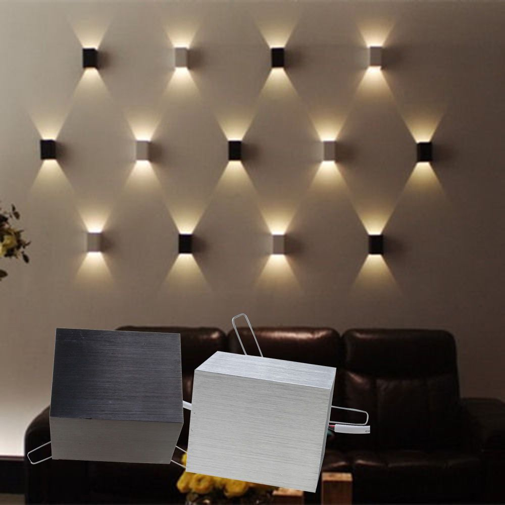 Room design with wall lights 3w led square wall lamp hall porch walkway bedroom livingroom home fixture DUAUQWZ