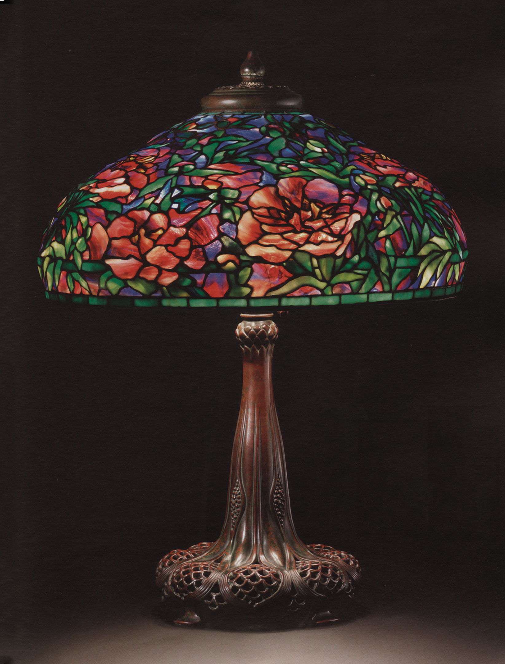 tiffany lamps tiffany studios, an elaborate u0027peonyu0027 leaded glass and bronze table lamp,  circa GCNJFLT