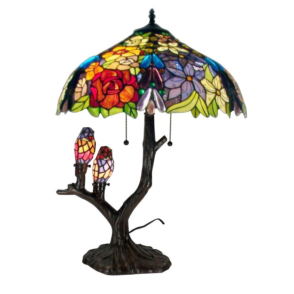 tiffany lamps warehouse of tiffany 25 in. floral birds multicolored brown table lamp EQUITPW