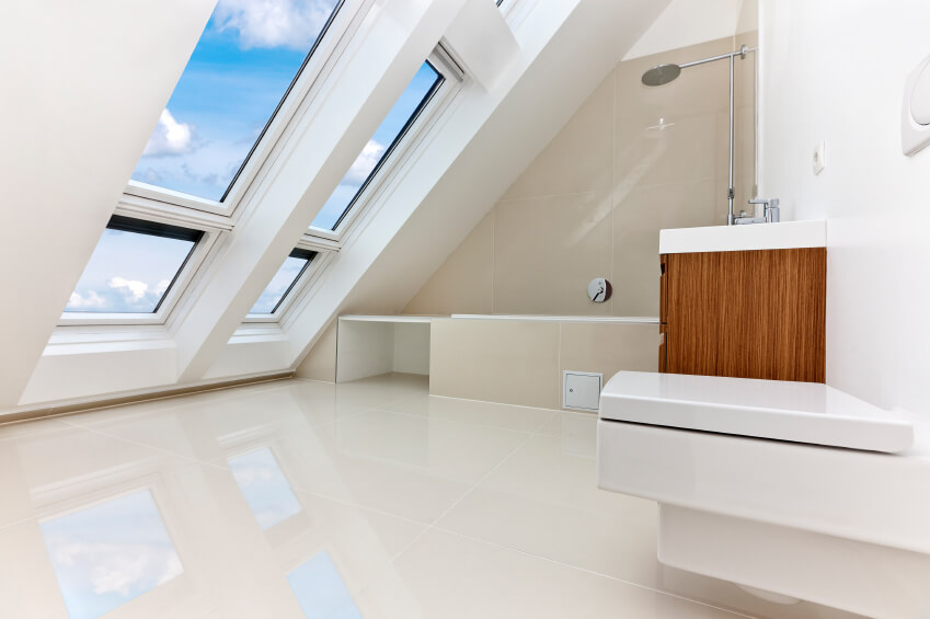 bathrooms pitched roof an all white bathroom with a slanted roof with plenty of windows. the VPZHLOR