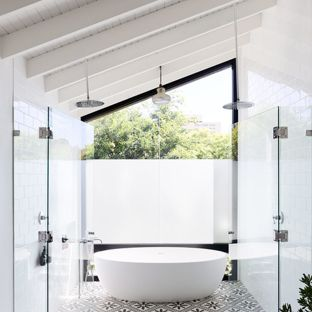 bathrooms pitched roof trendy master white tile bathroom photo in sydney with white walls NQXCKGT