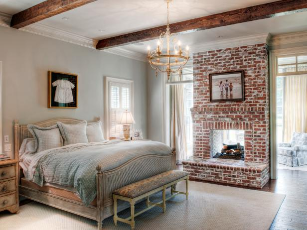 Country style bedroom gray country bedroom with brick fireplace ZHLDVXI