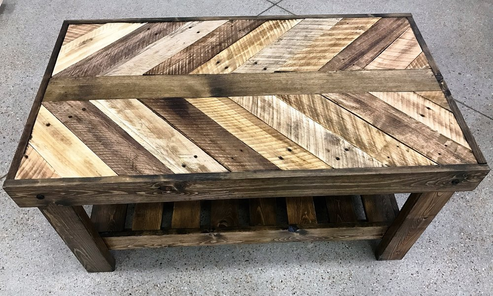 Custom made furniture stained reclaimed wood coffee table NDUIOYG