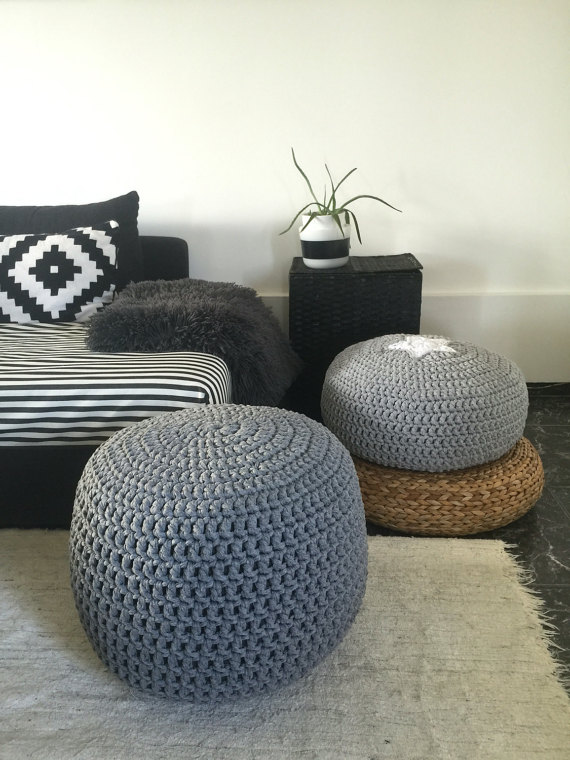 grey crochet pouf ottoman- nursery foot stool pouf- furniture | looping home CZXJOYX