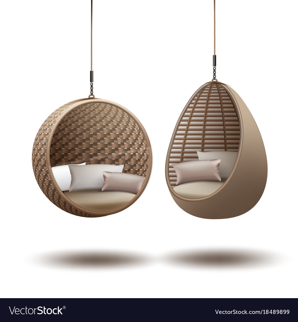 Hanging Chairs wicker hanging chairs vector image HJTRLBS