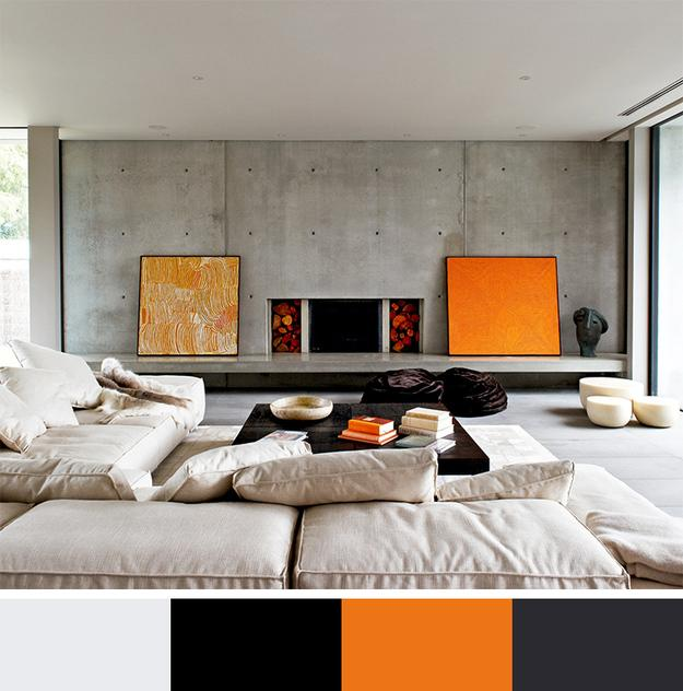 Interior design with colors orange color with black, gray and beige neutral colors FQPCOMP