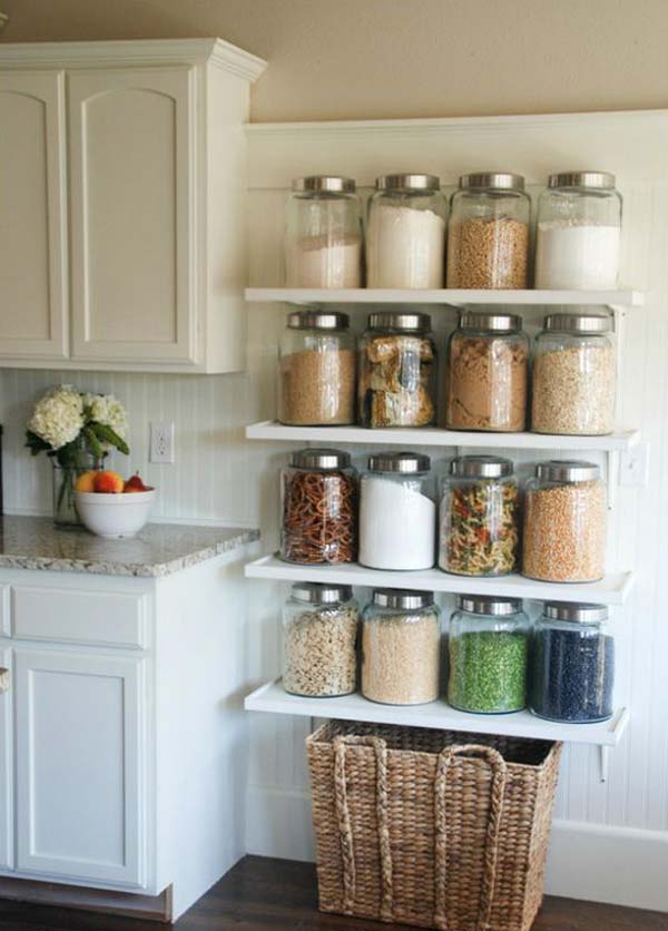 Kitchen shelf ideas diy kitchen jar shelves MONCAPP