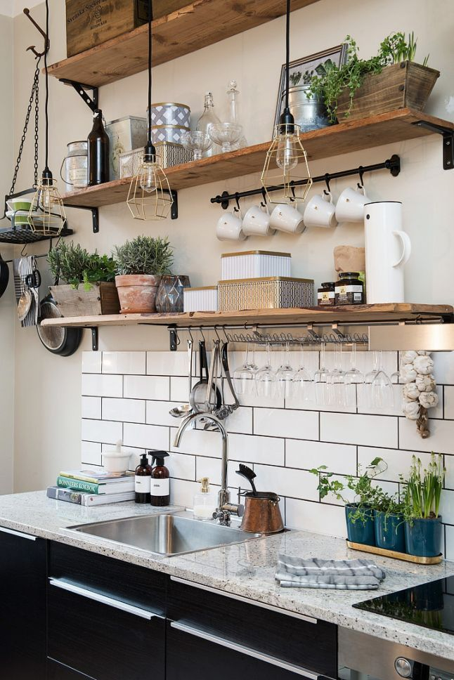 Kitchen shelf ideas i like the coffee mug holder idea. i use that bar from ikea to HJFOHJU