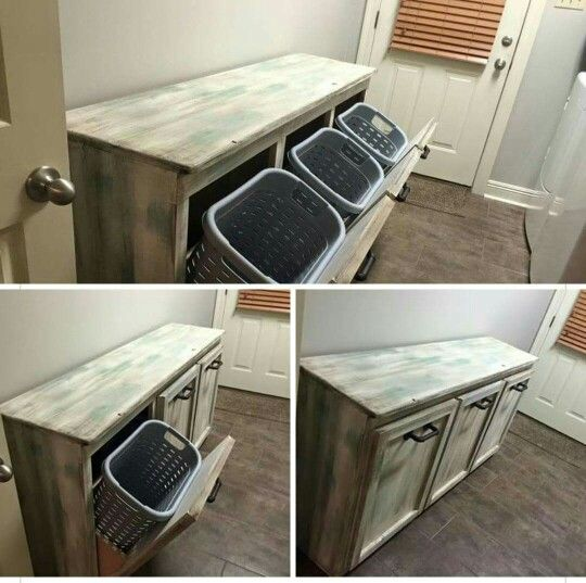 Laundry Basket Ideas this looks so much better than hampers sitting around! laundry room tables,  farmhouse FDHGBDP