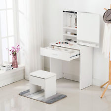 Makeup tables vanity dressing desk makeup table set with stool mirror cabinet u0026 drawer  storage ASVDUYS