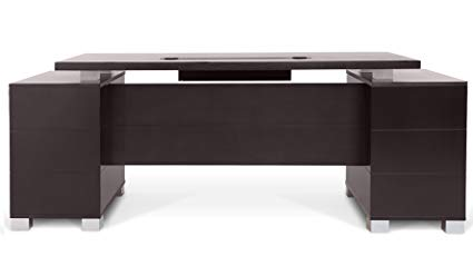 Modern Desk ford executive modern desk with filing cabinets - dark wood finish PNMJZWM