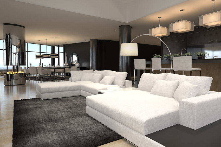 Modern living room ideas black and white furnished modern living room UXCDFGM