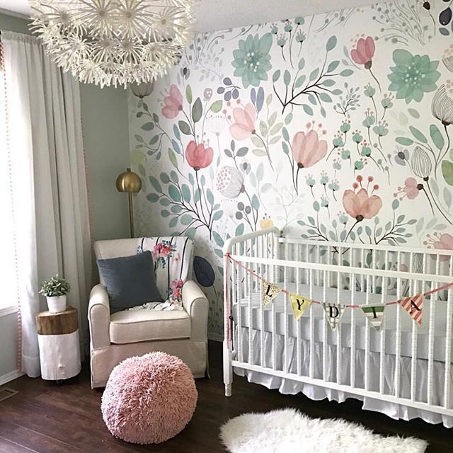 nursery wallpaper ideas floral wallpaper accent wall in the nursery - so whimsical and sweet! | ZJGBPCA