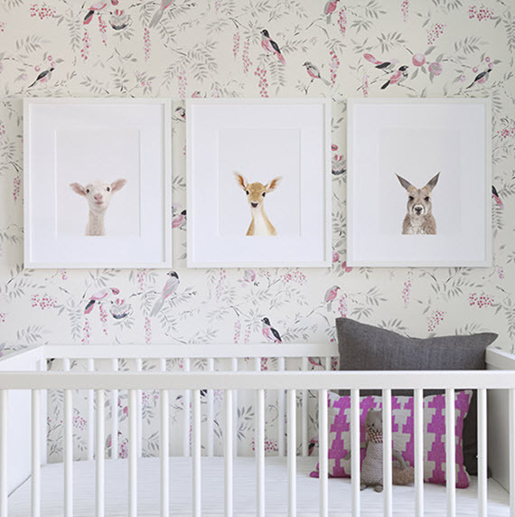 nursery wallpaper ideas girls nursery // bird wallpaper // the animal print shop ICZFBMW