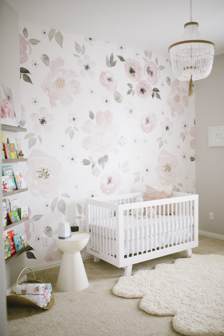 nursery wallpaper ideas watercolor flower jolie wallpaper in pink and gray girlu0027s nursery AQXOZHC