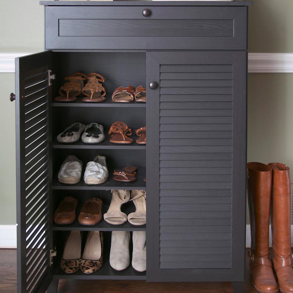 Shoe cabinet baxton studio harding wood shoe-storage cabinet in dark brown espresso RHQSKWM