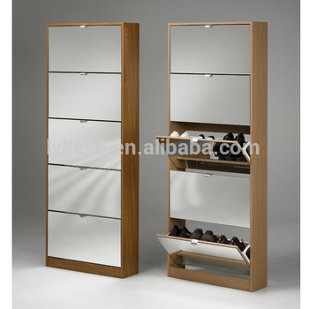 Shoe cabinet super quality closed iron shoe cabinet design black-white color shoe rack  standing mirror PHSSDON