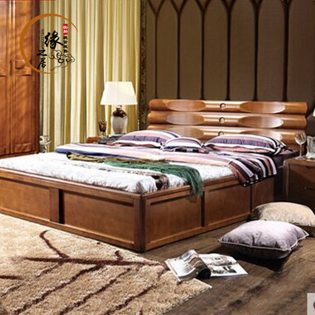 solid wood beds new chinese ash solid wood bed 1.8 meters high chinese wooden box storage HBAGNTH