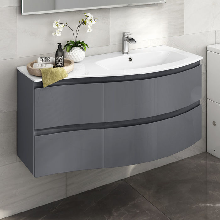 vanity unit with basin 1040mm wall hung curved vanity unit with resin sink | right hand | grey SYXUTGJ