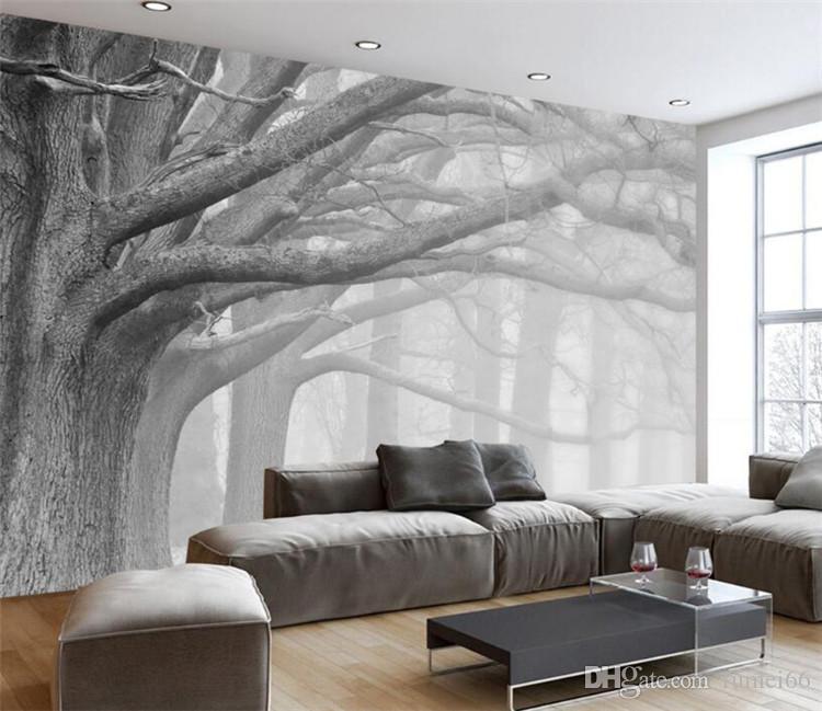 wall murals modern 3d wallpaper living room bedroom murals modern black and white forest tree  art GFVEDZI