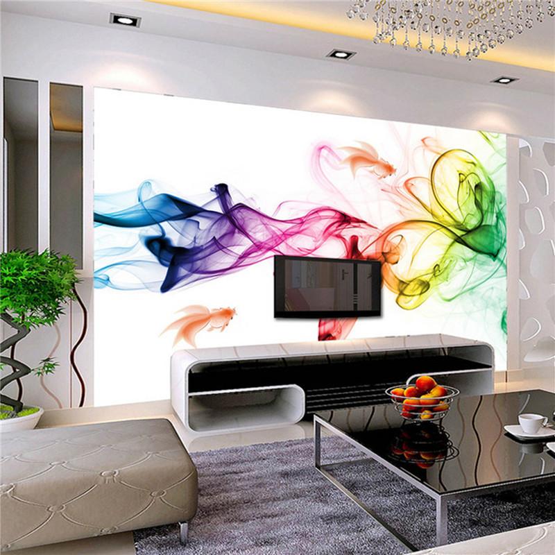 wall murals modern custom photo wallpaper modern 3d wall mural wallpaper color smoke fog art  design DBTBIHW