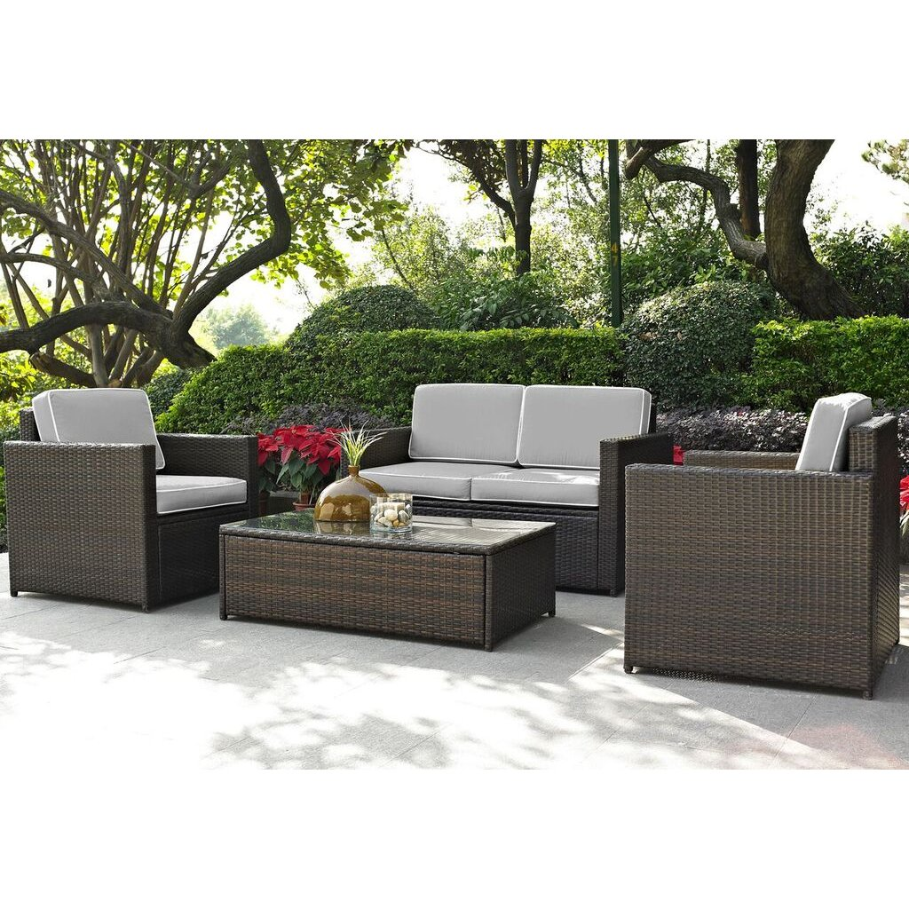 Wicker furniture gray and brown 4 piece wicker furniture set - palm harbor | rc willey YTCQTUL