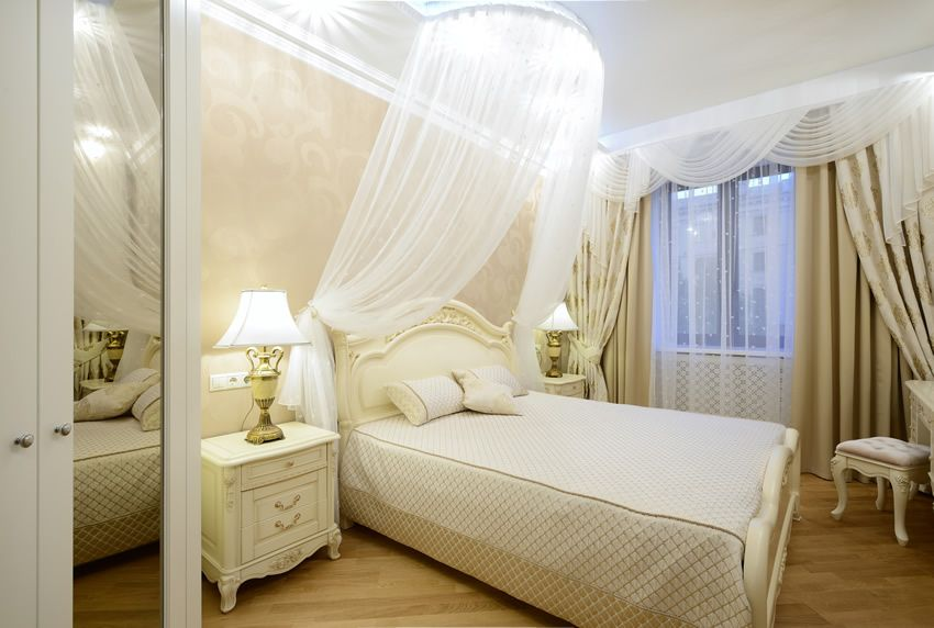 Bedroom made of beech beautiful white bedroom with sheer bed princess curtains. the flooring is  made YJGCDDU