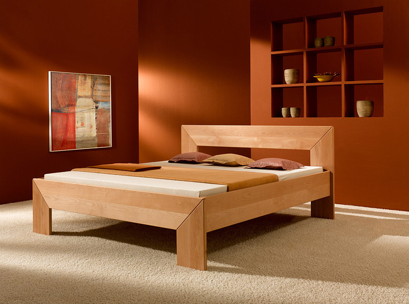 Bedroom made of beech bed frame made from solid beechwood - purenature YHOAJWK
