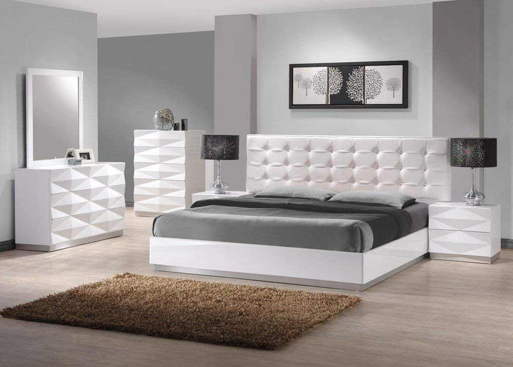bedroom white furniture sets amazon.com: ju0026m furniture verona modern white lacquer u0026 leather bedroom set  -king UVLMWUN