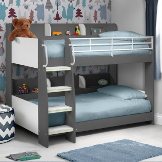 Beds for boys domino grey wooden and metal kids storage bunk bed VJTNBTD
