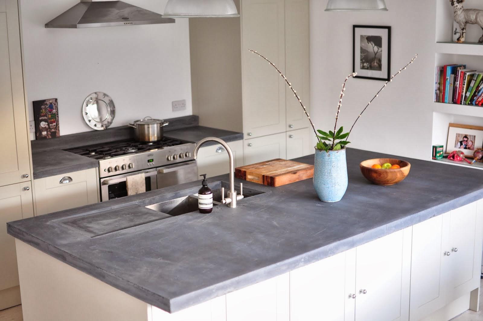 Concrete worktop in the kitchen edinburgh slate blue concrete worktop with drainer GHXZSKJ