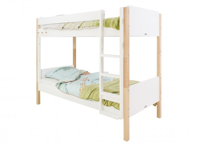 Cots 90×200 cm bopita jente bunkbed 90 x 200 cm white-natural with straight stairs DYJXJWV